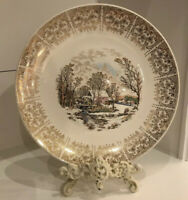 "Currier & Ives Royal Monarch Warranted 22K GOLD 10"" PLATE"