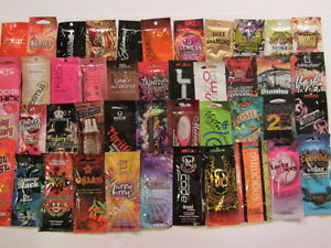 LOT of 5 VARIOUS (ALL DIFFERENT) Tanning Lotion SAMPLE Packets