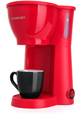 Single Serve Coffee Maker One Cup Small Personal Brew With Brewing Basket Red