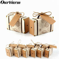 Ourwarm 100×Travel Themed Wedding Candy Boxes Mini Suitcase Gift Box with Tags