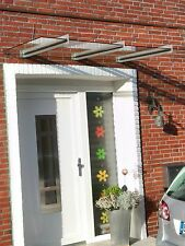 Edelstahl Vordach mit klarem VSG in 260cm x 90cm x 10,76mm