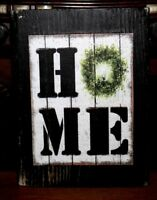 HOME Wreath Primitive Rustic Farmhouse Wooden Sign Block Shelf Sitter 3.5X4.5