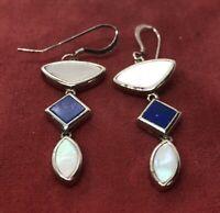 Vintage Sterling Silver Earrings 925 Shell Drop Dangle Blue Stone