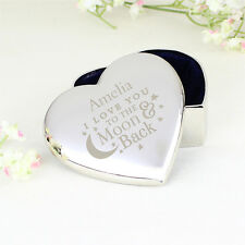Personalised Fabric Lined Trinket Box - Small Ring/Jewelry Heart Gift Box