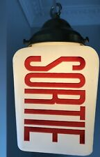 Vtg Double sided Light Sortie Exit Sign With Fixture Cinema Movie Theater 1950