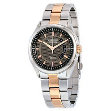 Citizen Eco-Drive Black and Brown Dial Two-Tone Stainless Steel Men's Watch