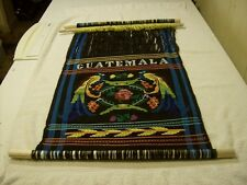 HANDMADE GUATEMALA 2 BIRDS RESTING Wall Hanging Tapestry BLUE WITH 3 Wood Rods