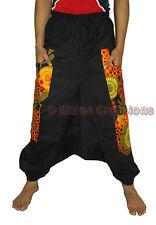 Men Cotton Black Floral Pockets Harem Yoga Pants Women Genie Pant Hippie Trouser