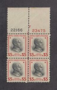 US  Sc. 834 ($5 Coolidge) center line plate block pl.22166/23475, MNH stamps