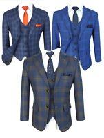 WT-10 MENS//BOYS PALE BLUE TWEED PINK CHECKED WAISTCOAT CASUAL //WEDDING //FORMAL //