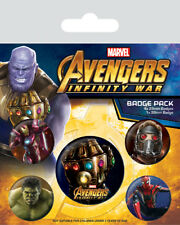 Avengers Infinity War 5 Badge Pack Official Marvel Thanos Pin Iron Man Spiderman