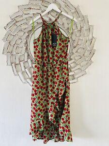 New Gorgeous Green Rose Print Ruffle Summer Midi Dress Size 12