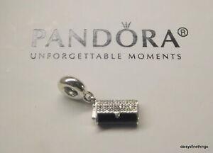 AUTHENTIC PANDORA CHARM CLUTCH BAG DANGLE BLACK ENAMEL CZ'S #792155CZ RETIRED