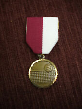 gold Volleyball medal ball and net maroon/white pin drape 1 1/4""