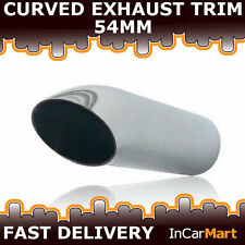 UNIVERSAL BOLT ON EXHAUST TAIL PIPE TIP TRIMS CURVED CHROME 54MM