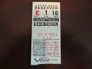 1964 St. Louis Cardinals World Champions Last Game Ticket Bob Gibson, Curt Flood