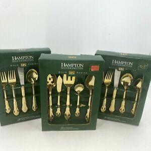 Hampton Silversmith 24 KT Gold Plated 45 Piece  Flatware Set Versailles READ