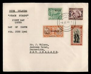 DR WHO 1946 NEW ZEALAND NIUE OVERPRINT PEACE STAMP FDC C189432