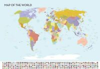 World Map Large Wall Chart Flags High Quality Colour A0 841mm x 1189mm  XXL