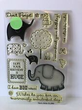 """Hero Arts """" Elephants """" Birthday/ Best Wishes / Poly Clear Stamps CL280"""