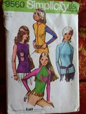 New vtg  Simplicity 9560 Sewing Pattern knit   Top Blouse Size 12 bust 34 1971