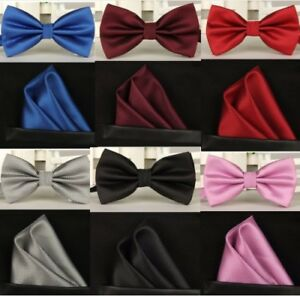 Men's fashion butterfly adjustable wedding party polyester Bow Tie & Hanky set