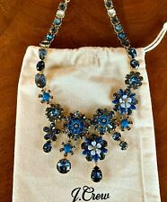 NWT J. CREW $138 CRYSTAL FLOWER BLOOM STATEMENT NECKLACE PRUSSIAN BLUE  & POUCH