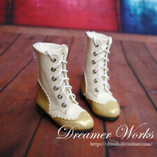Mimi Collection MSD Doc 1/4 BJD Obitsu Doll BOOTS White&Golden Splice Shoes