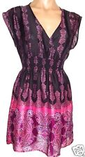 NEW Lily White S, small Elastic waist tunic top shirt blouse paisley multicolor