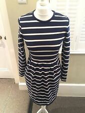 Cotton Round Neck Long Sleeve Striped Dresses for Women