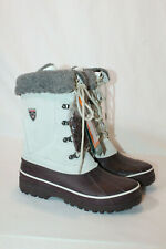 Sporto womens 10 medium white bisque winter lace up snow boots korrie