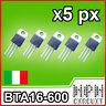 BTA16-600B TRIAC 600V 16A TRANSISTOR x5 pezzi Bta16