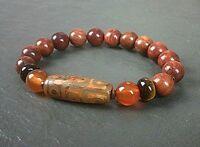 Orange Striped Agate 10mm Gemstone Bracelet Jewellery Natural Healing Stone UK