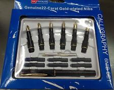 Calligraphy  FOUNTAIN PEN Set 6 Nibs And Cartridges 22 Carat Gold Plated