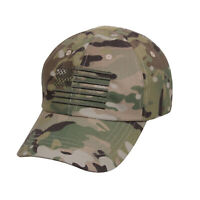 MultiCam Tactical Operator Cap Military Contractor Hat with Embroidered USA Flag