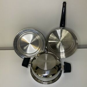 West Bend Kitchen Craft Stainless Steamer Strainer W/ Domed Lid & Stackable Pan