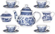 CHURCHILL BLUE WILLOW 11 PIECE TEA SET - NEW/UNUSED