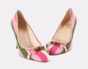 Gucci Striped Shoes Pumps Heels Baiadera Bamboo Horsebit Size 9B