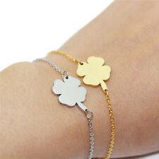 Stainless Steel Bracelet Bangle 4Leaf Clover Irish Good Luck Bracelet Jewelry FG