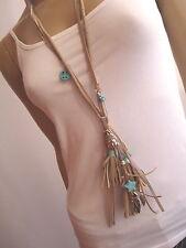 Modekette Damen Hals Kette lang Leder Silber Buddha Peace Ethno Ibiza Boho b4498
