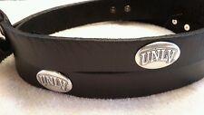 Men's Black Leather Belt with University of Las Vegas UNLV Conchos 46 R