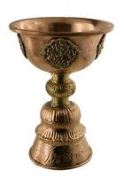 Lampada A Burro Tibetano IN Rame E Ottone Dipa 22 CM -altare che Offre 2279 F