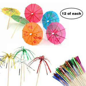 24 x Cocktail Umbrellas Party Drink Decoration Sparkle Fireworks Palm Tree Stick