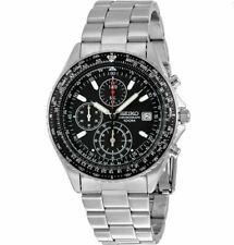 Seiko Men's SND253 Chronograph Pilot Black Dial Stainless Steel Watch