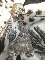 Ladies Scarf Long Black Bird Pattern with Silver Metal Peacock Scarf Clip