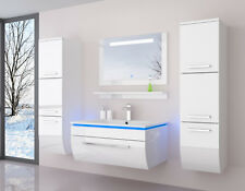 90 Badmöbel Set Weiss Komplett Hochglanz Badezimmermöbel 5Teilige LED Bad Weiß