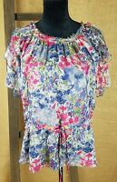 MM Couture by Miss Me women small silk shirt floral ruffle boat neck top