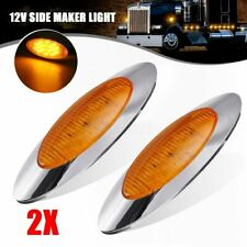 "2x 12V 6.5"" Oval Marker Clearance Light 16 LED Chrome Amber For Truck Trailer"