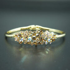 14k Gold plated brilliant with Swarovski crystals bangle bracelet