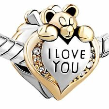 Pandora I Love You Bear Bracelet Bead Charm Sister Mother Daughter Mum Wife Gift